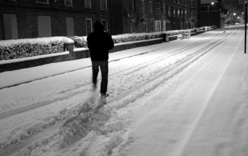 Snow in London. Midnight.