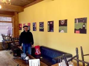 putting up the new show at THE YELLOW WALL, Chalet Cafe London